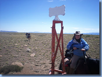Ale on the border, on the Crossing the Andes on Horseback in Northern patagonia Trail
