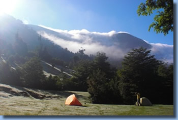tentcamp on a 2 day ride in Pucon, Chile