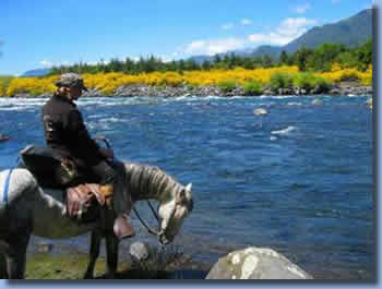 Rider on the banks of trancura river in spring on a half day ride in Pucon, Chile