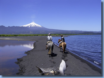 Horseback riding in Chile, view to Villarrica on the trail