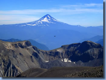 View of lanin Volcano on Sollipulli horse back  trek in the chilean Andes
