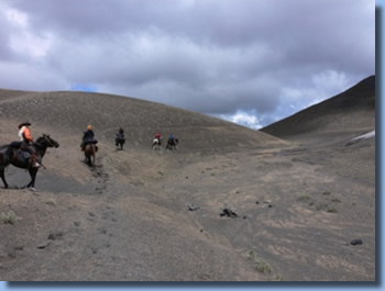 Group of riders on high plain on the volcano trail ride in NP Villarrica, Chile