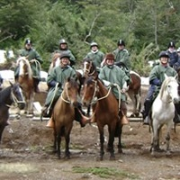 Group foto of various riders in Pucon, southern Chile.