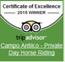 Logo of Antilco horsetrails as winner of tripadvisor excelence adward